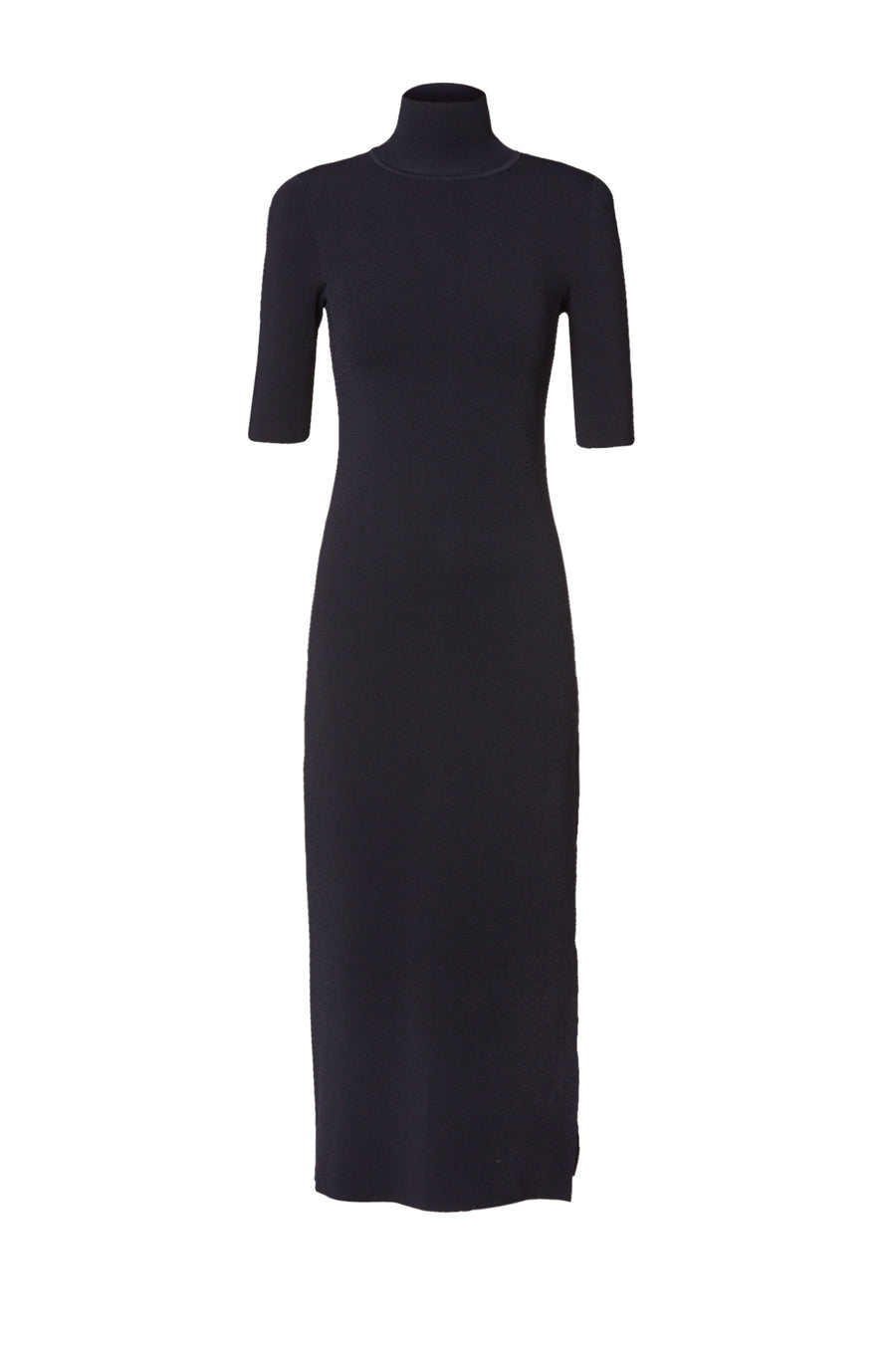 Micro Crepe Short Sleeve Dress, high neckline, short sleeves, thigh high slit on the side of the dress, Color Navy