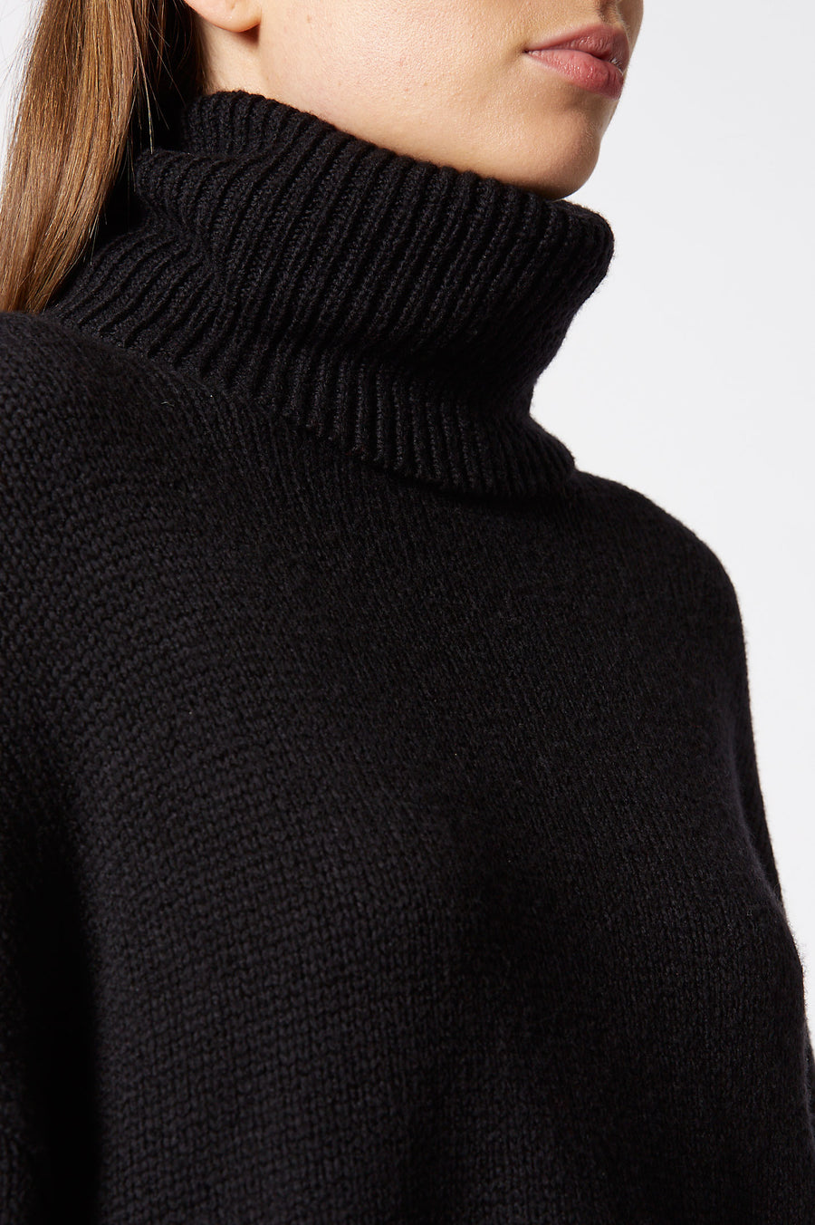 Husky Cravat Sweater, lofty yarn is knitted in jersey stitch, rib turtle-neck, cuff and hem details, Color Black