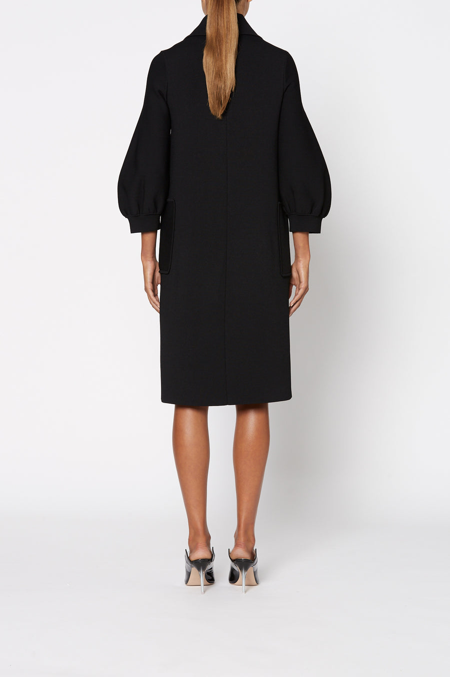 Crepe Knit Cocoon Sleeve Coat, tailored coat, which features a zip front, cocoon sleeves and patch pockets, Color Black