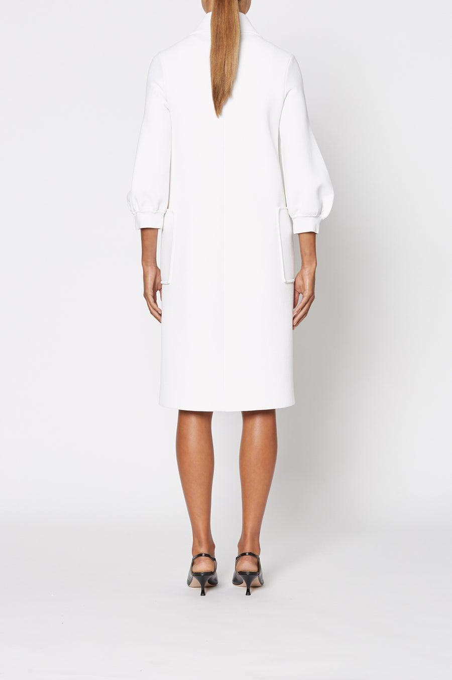 Crepe Knit Cocoon Sleeve Coat, tailored, zip down front,  cocoon sleeves and patch pockets. Color White