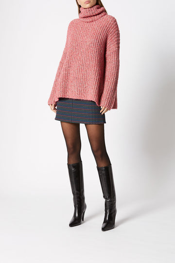 Ladder Rib Sweater, loose fitting, high turtle neck, side slit, Color Pink