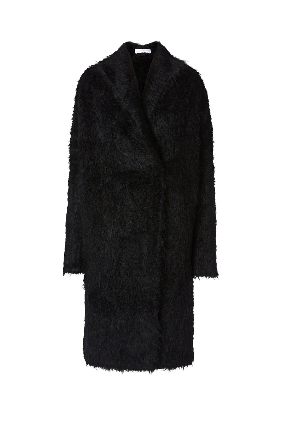 Brushed Mohair Cardigan, oversized, long sleeve, falls below knee, color Black