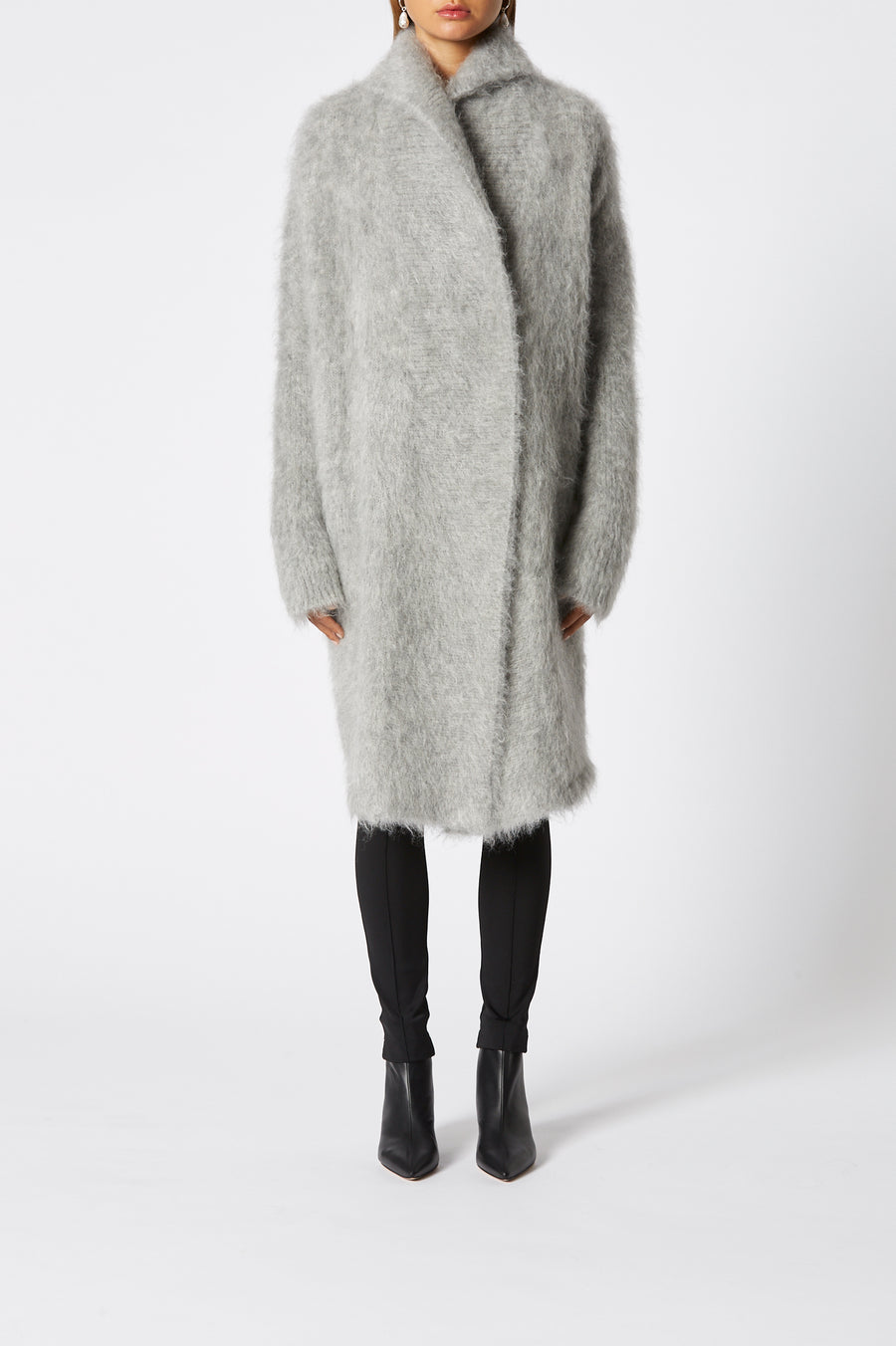Brushed Mohair Cardigan, oversized, long sleeve, falls below knee, color Grey Melange