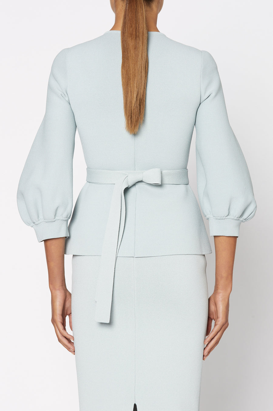 Crepe Knit Cocoon Sleeve Jacket, Tailored Zip Front, Peplum style with Waist Belt and Cocoon Sleeves. Color Blue Argento