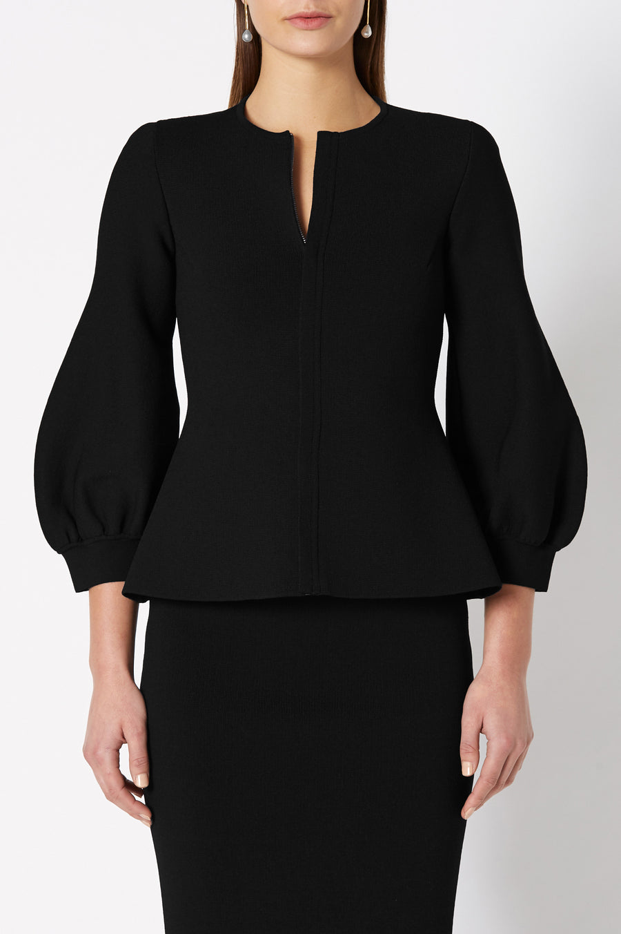 CREPE KNIT COCOON SLEEVE JACKET BLACK