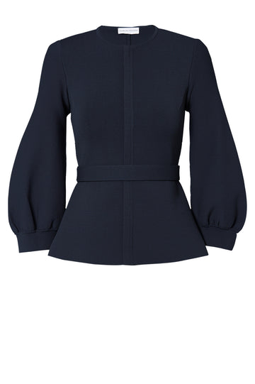CREPE KNIT COCOON SLEEVE JACKET NAVY