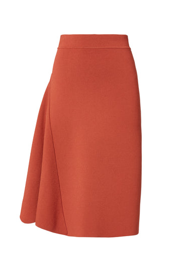 Crepe Knit Panel Skirt, high waisted skirt, panel detail, just below knee and away from the body, color Burnt