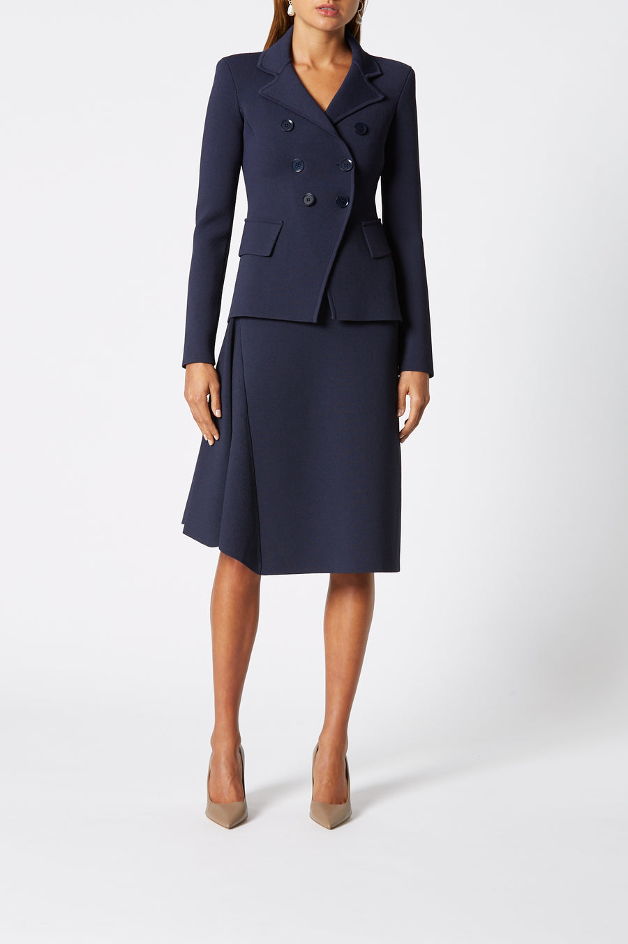 Crepe Knit Panel Skirt, high waisted skirt, panel detail, just below knee and away from the body, color Indigo