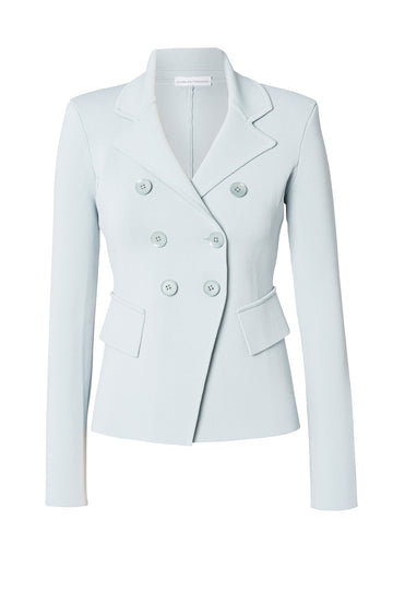 Crepe Knit Tailored Jacket, double breasted lapels, side pockets and a slightly nipped-in waist. Color Blue Argento