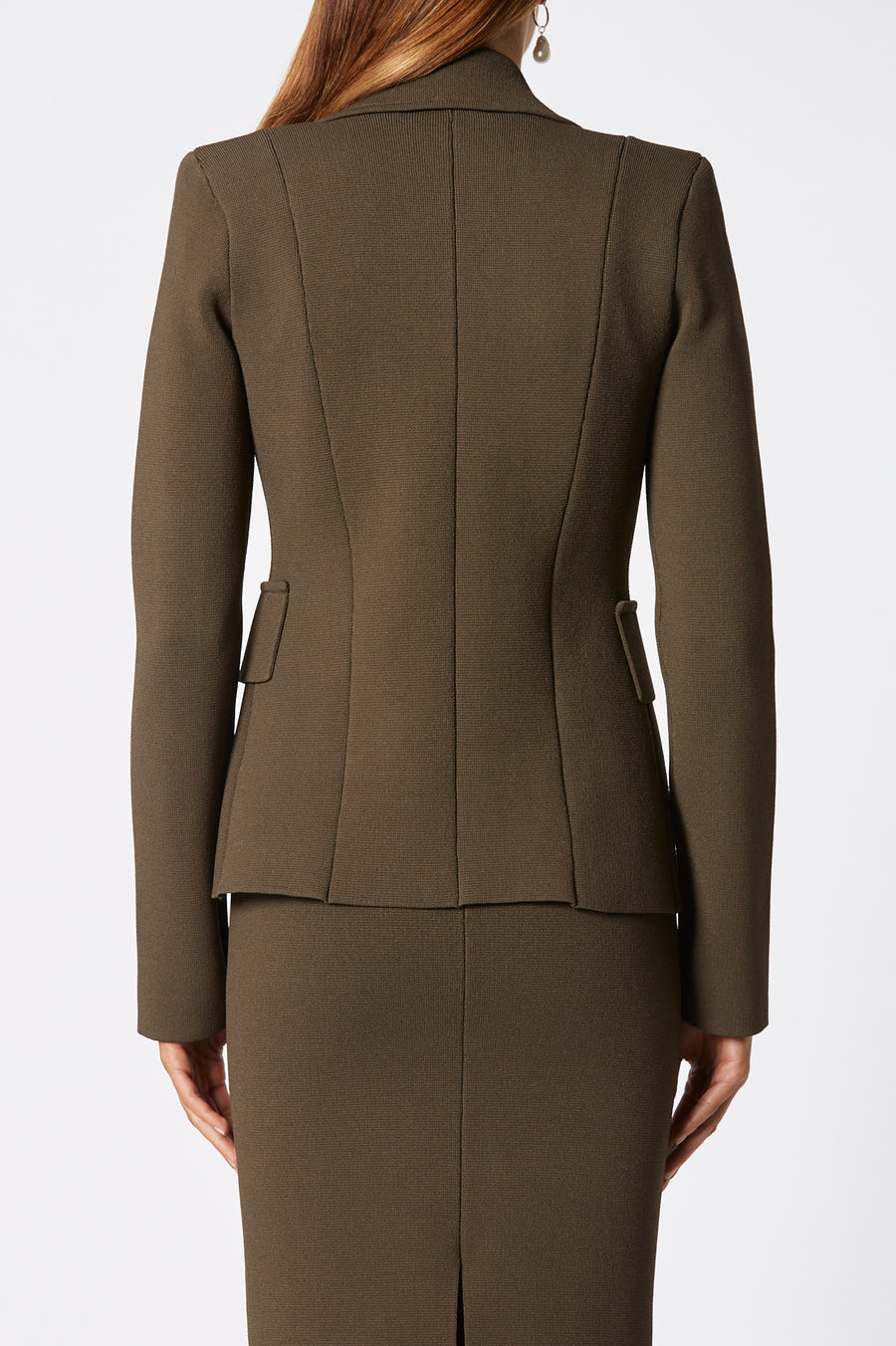 Crepe Knit Tailored Jacket, sharp lapels, shoulder pads, double breasted silhouette, Color Cafe
