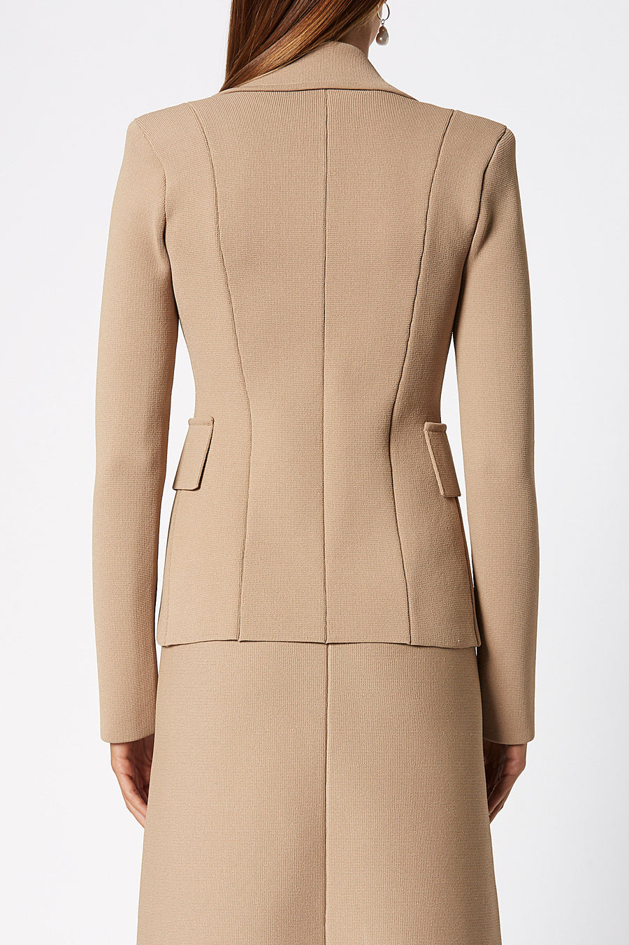 Crepe Knit Tailored Jacket, sharp lapels, shoulder pads, double breasted silhouette, Color Camel