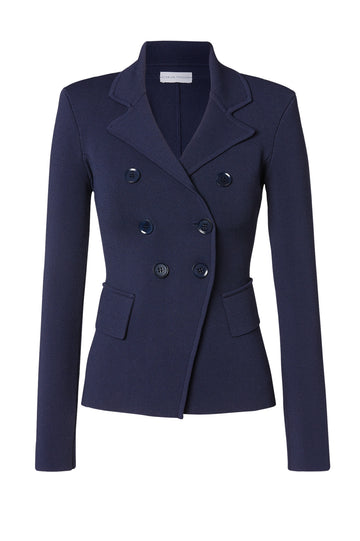 Crepe Knit Tailored Jacket, sharp lapels, shoulder pads, double breasted silhouette, Color Indigo