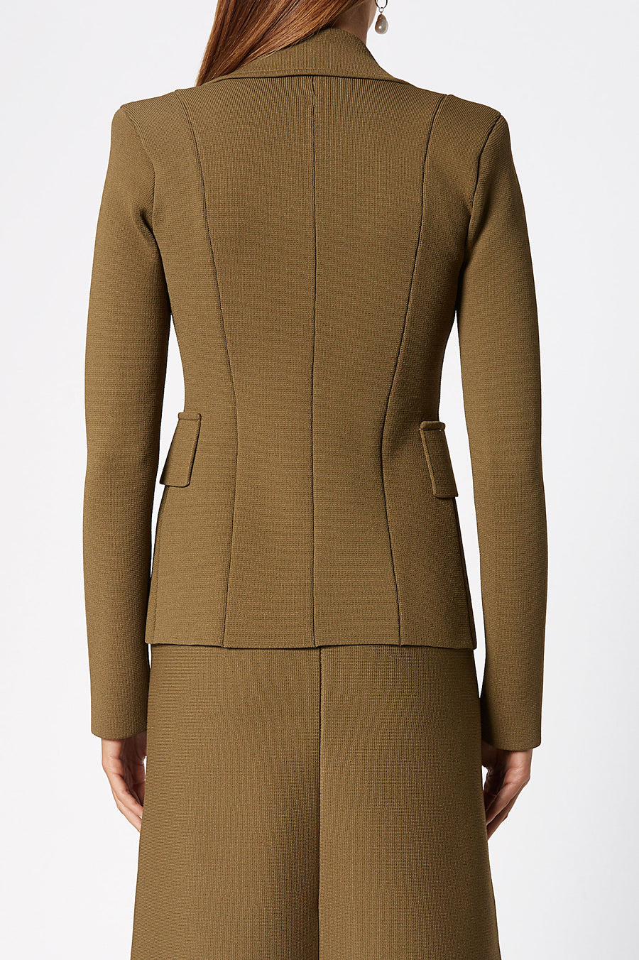 Crepe Knit Tailored Jacket, sharp lapels, shoulder pads, double breasted silhouette, Color Military