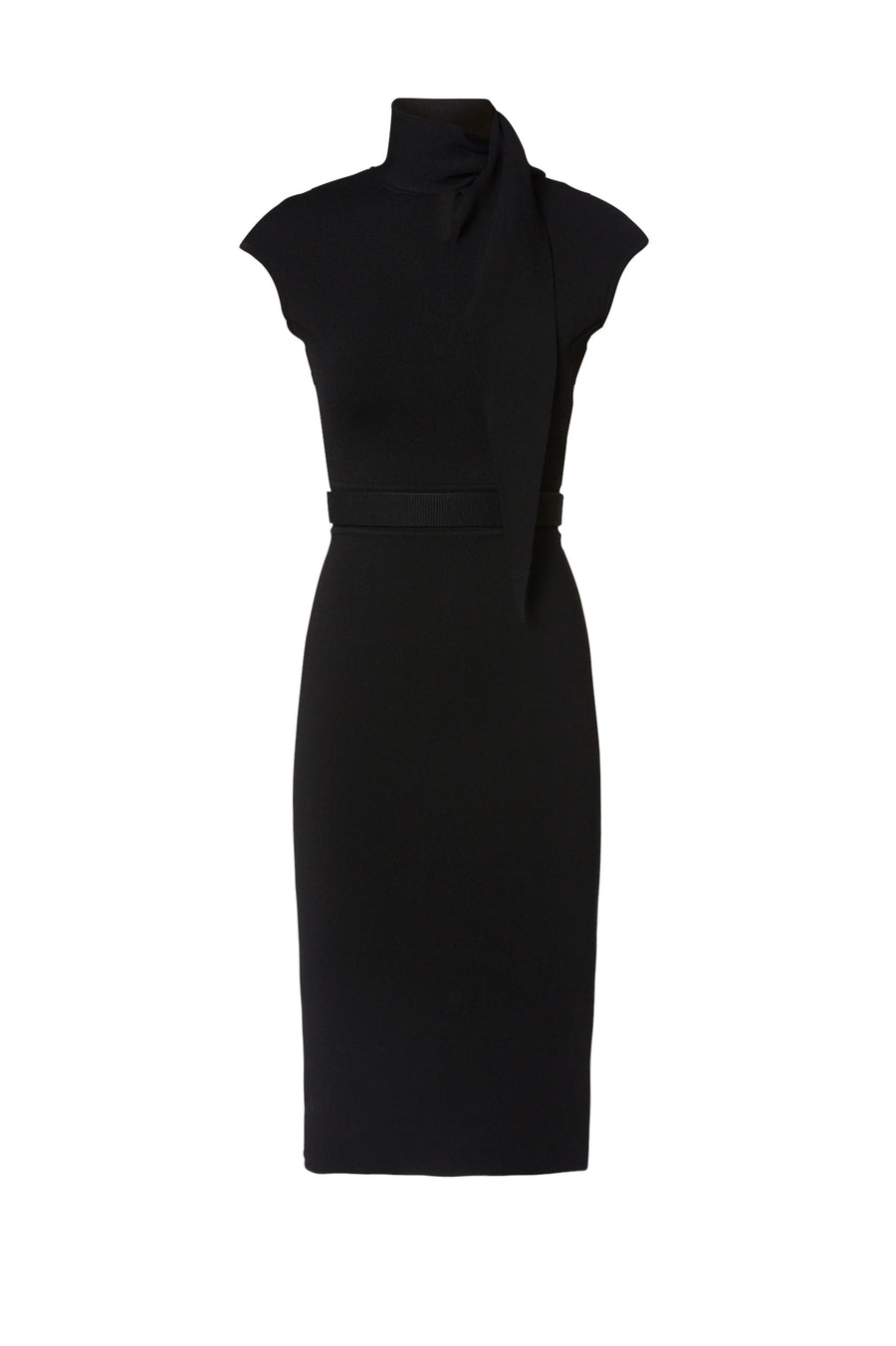Crepe Knit Cravat Dress, tailored dress, cap sleeves, cravat style neckline, Color Black