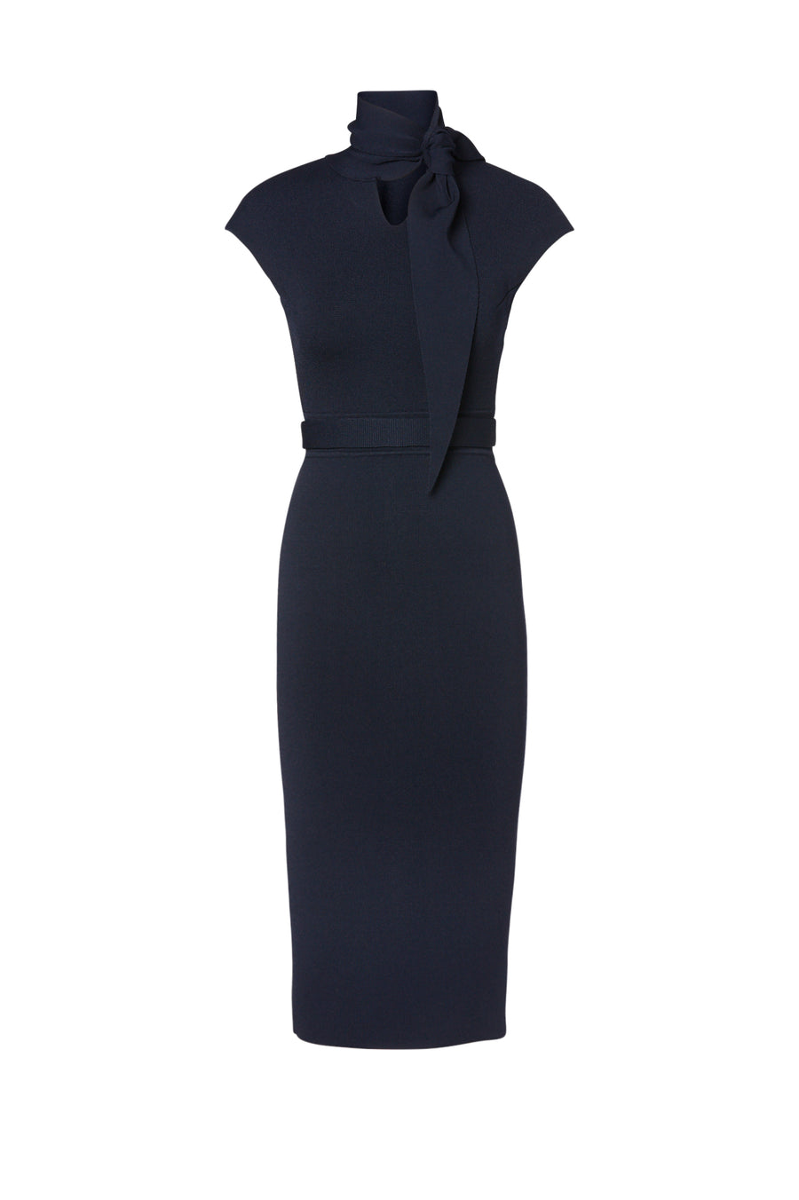 Crepe Knit Cravat Dress, tailored with cap sleeves, cravat style. Color Navy