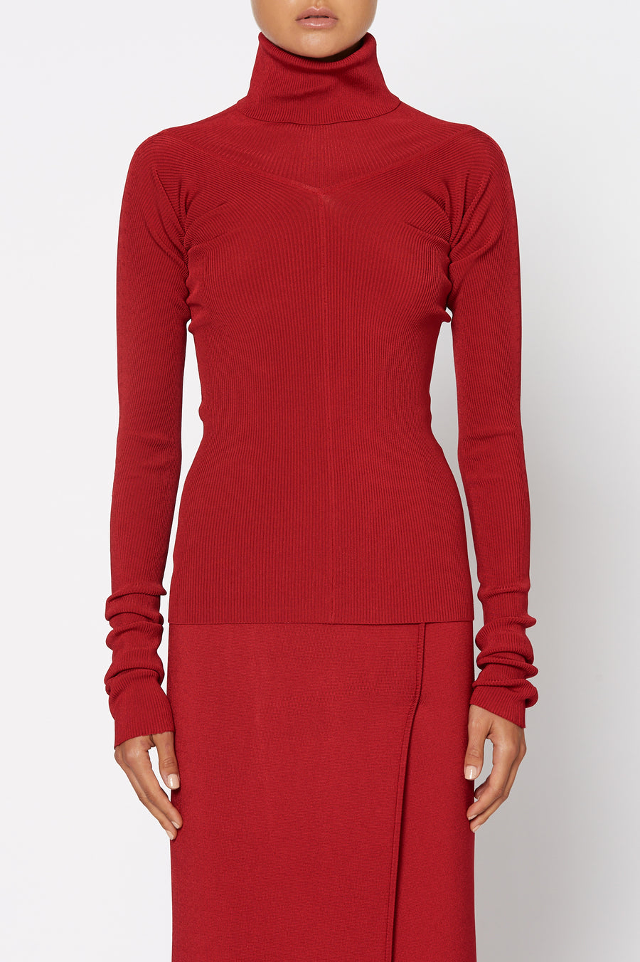 Satin Rib Top, high turtle neck, long sleeves, rib detail around the neckline, Color Red