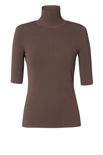 MICRO CREPE SHORT SLEEVE TOP CAFE