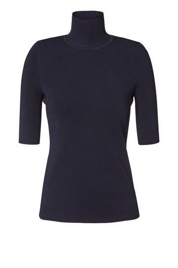 Micro Crepe Sleeveless Top, high neck, mid length sleeve, intended to fit close to body, Color Navy