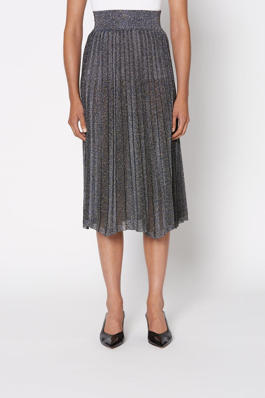 Tinsel Pleat Skirt, voluminous pleats, falls just below the knee, elastic waistband sits high on waist, color Navy