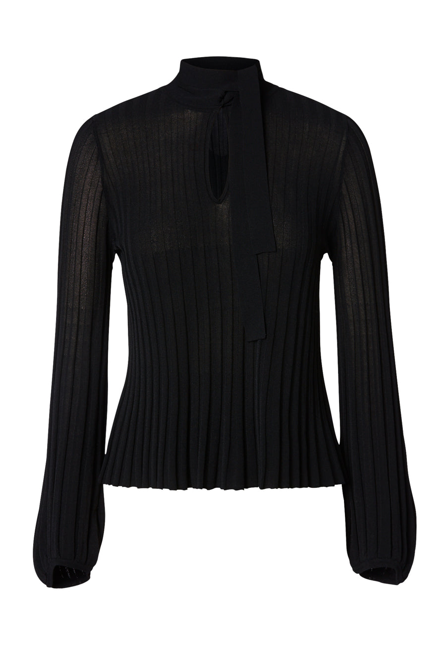 Pleated Rib Tie Neck Top, knitted in Italian Viscose/ Polyester, natural pleat, tie neck, top button fastening, peplum cuffs, Color Black
