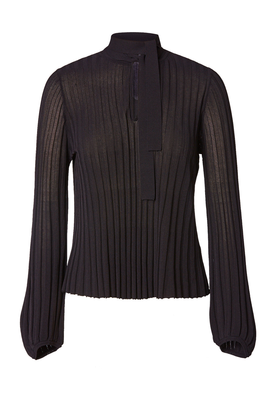 PLEATED RIB TIE NECK TOP CHOCOLATE
