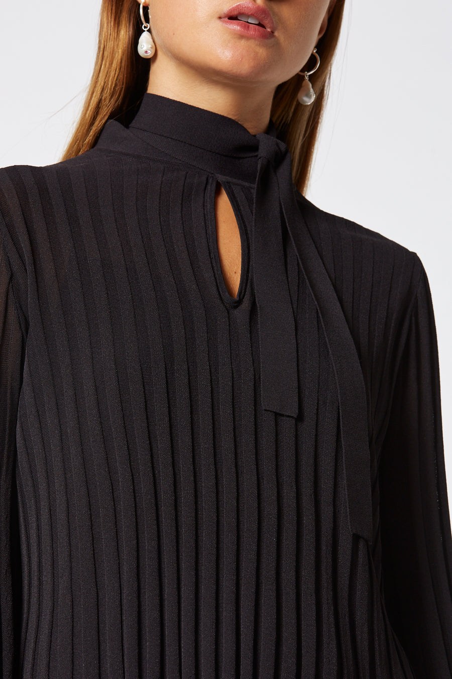Pleated Rib Tie Neck Top, natural pleat, tie neck, top button fastening, peplum cuffs, color chocolate