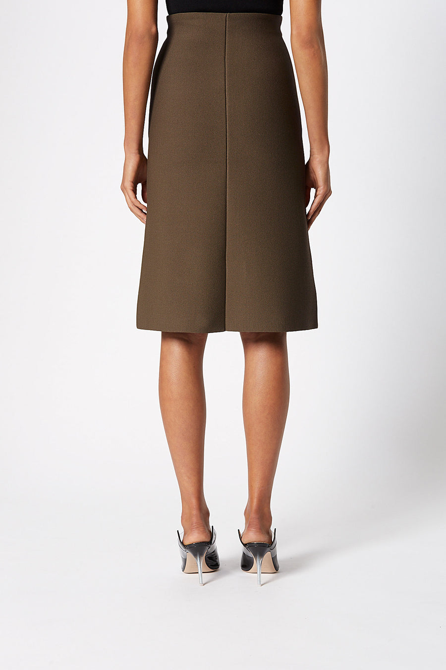 Crepe Knit A-Line Skirt, fitted at the waist, A-line body, sits below knee, Color Cafe