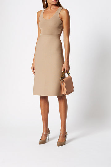 Crepe Knit A-Line Skirt, fitted at the waist, A-line body, sits below knee, Color Camel