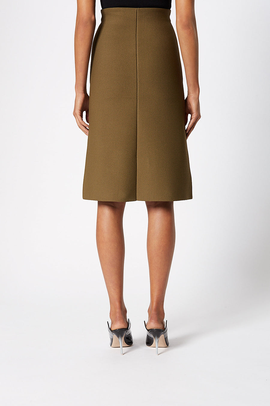 CREPE KNIT A-LINE SKIRT MILITARY