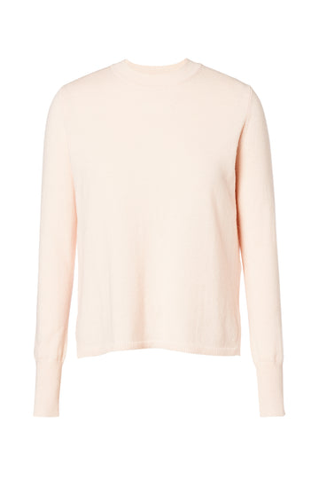 Cashmere Crew Neck Sweater, pull on style, crew neck, cuffed sleeves, side slits at the hem, 100% Cashmere, Color Blush