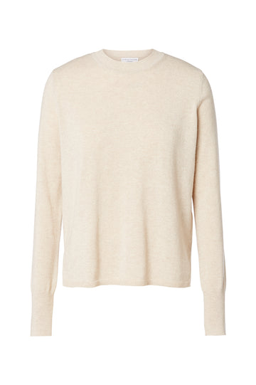 Cashmere crew neck sweater, pull on style, crew neck, cuffed sleeves and side slits at hem, Color Papiro