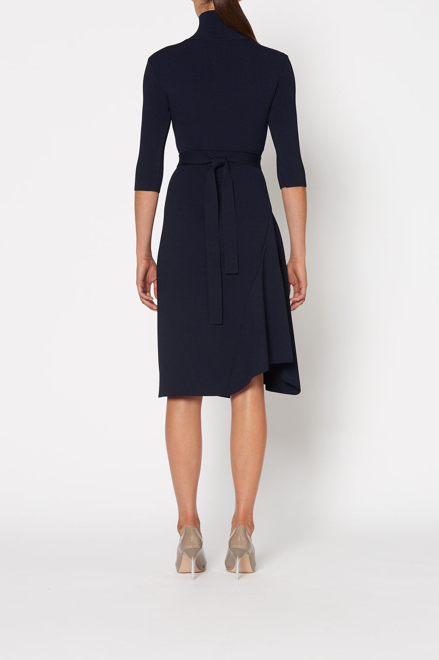Crepe Knit Panel Dress, high neck, mid-length sleeves, draped panel hem, falls just below knee, belt in same material included, color navy.