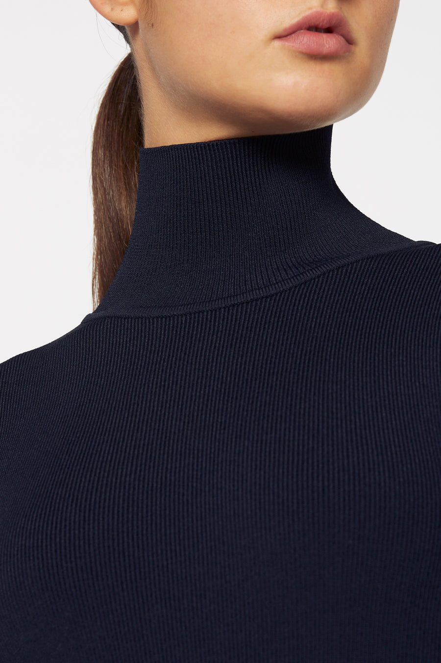 Crepe Knit Panel Dress, high neck, mid-length sleeves, draped panel hem, falls just below knee, belt in same material included, color navy