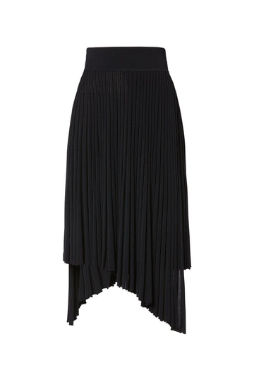 Pleated Rib Double Wrap skirt, knitted in Italian Viscose/ Polyester, sits high on waist, natural pleat, elasticated waist, pull on in style, Color Black