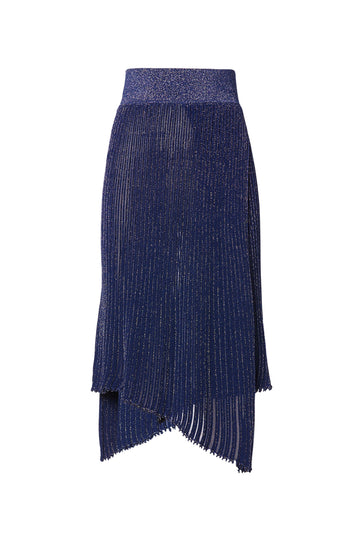 Sparkle Rib Skirt, knitted in two ends using the signature 'pleated rib' stitch for less transparency, elastic waistband,  asymmetric hem, falls below knee, Color Navy