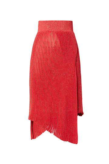 Sparkle Rib Skirt, knitted in two ends using the signature 'pleated rib' stitch for less transparency, elastic waistband, asymmetric hem, falls below knee, Color Red