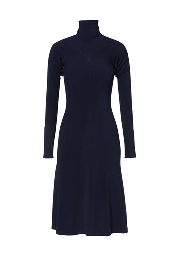 Satin Rib Dress, slim silhouette, High Neck, full skirt from the hips, falls just below the knee, Color Navy