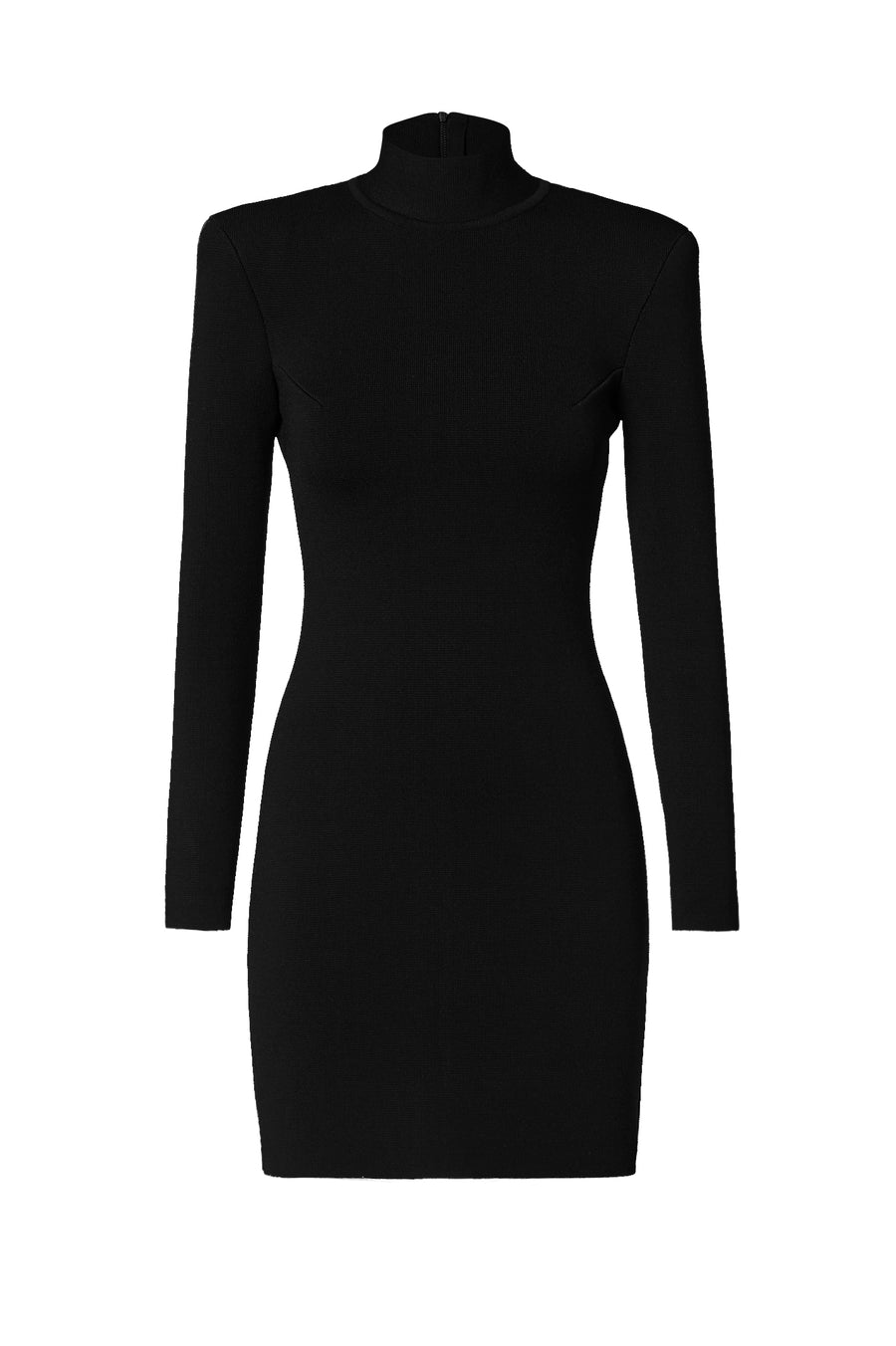Crepe Knit Tailored Mini Dress, high neckline, should pads, long zip fastening on back, Color Black