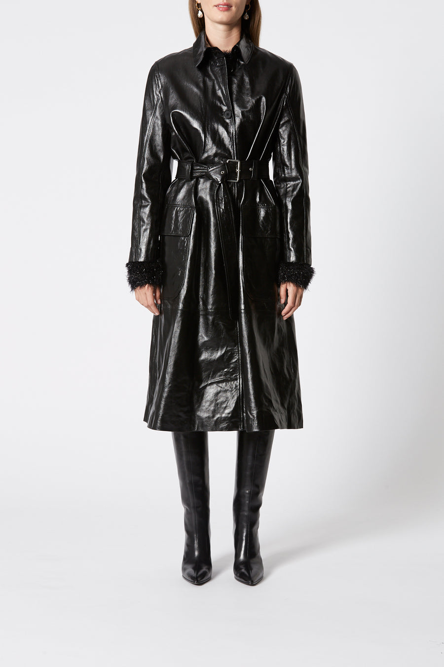 Leather Trench, 100% leather, loose fit, comes with belt, has a collar, long sleeves, button fastenings through front, Color Black