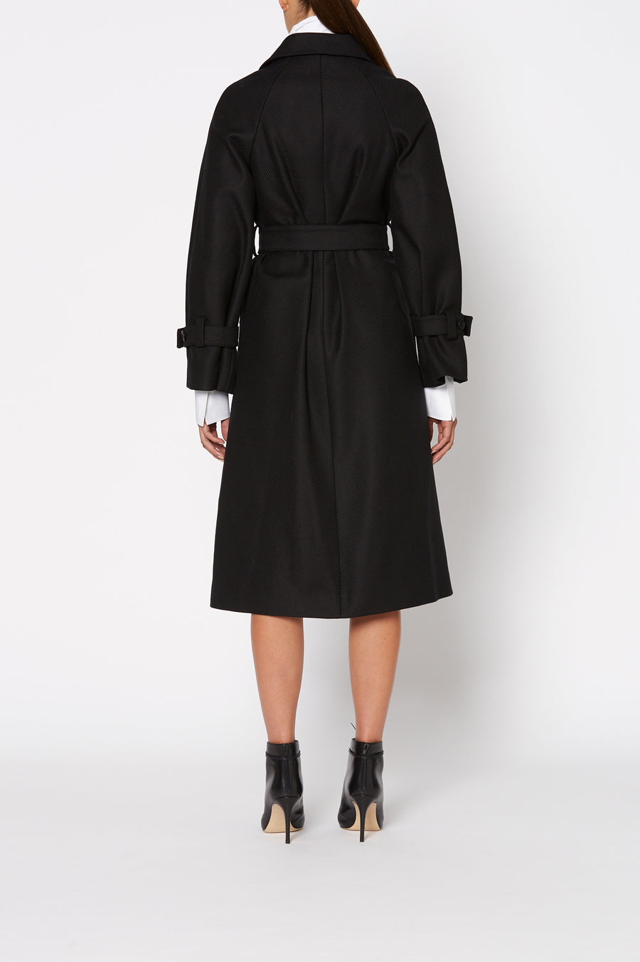 Twill Coat, slightly loose fit with an optional tie belt, buttoned cuffs, top button on front of jacket, Color Black