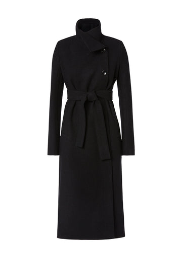 Edge Wool Coat, long coat with slim silhouette, patch pockets, seam detail and belt, button fastening at the top allowing collar to wrap around neck, Color Black