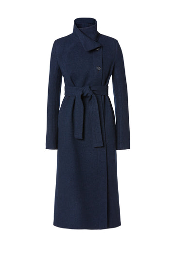 Edge Wool Coat, long coat with slim silhouette, patch pockets, seam detail and belt, button fastening at the top allowing collar to wrap around neck, Color Navy