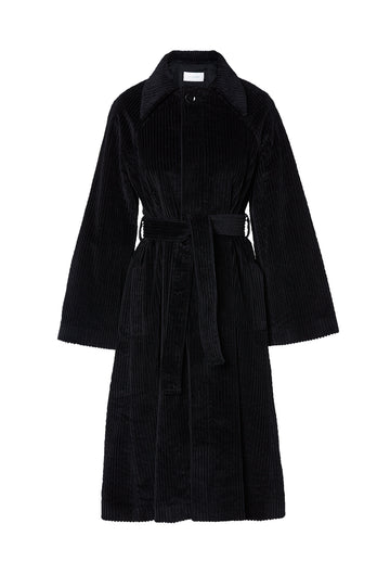 Cord Trench, slightly loose fit, can be cinched in at the waist with the belt tie, belt tie included, Color Black