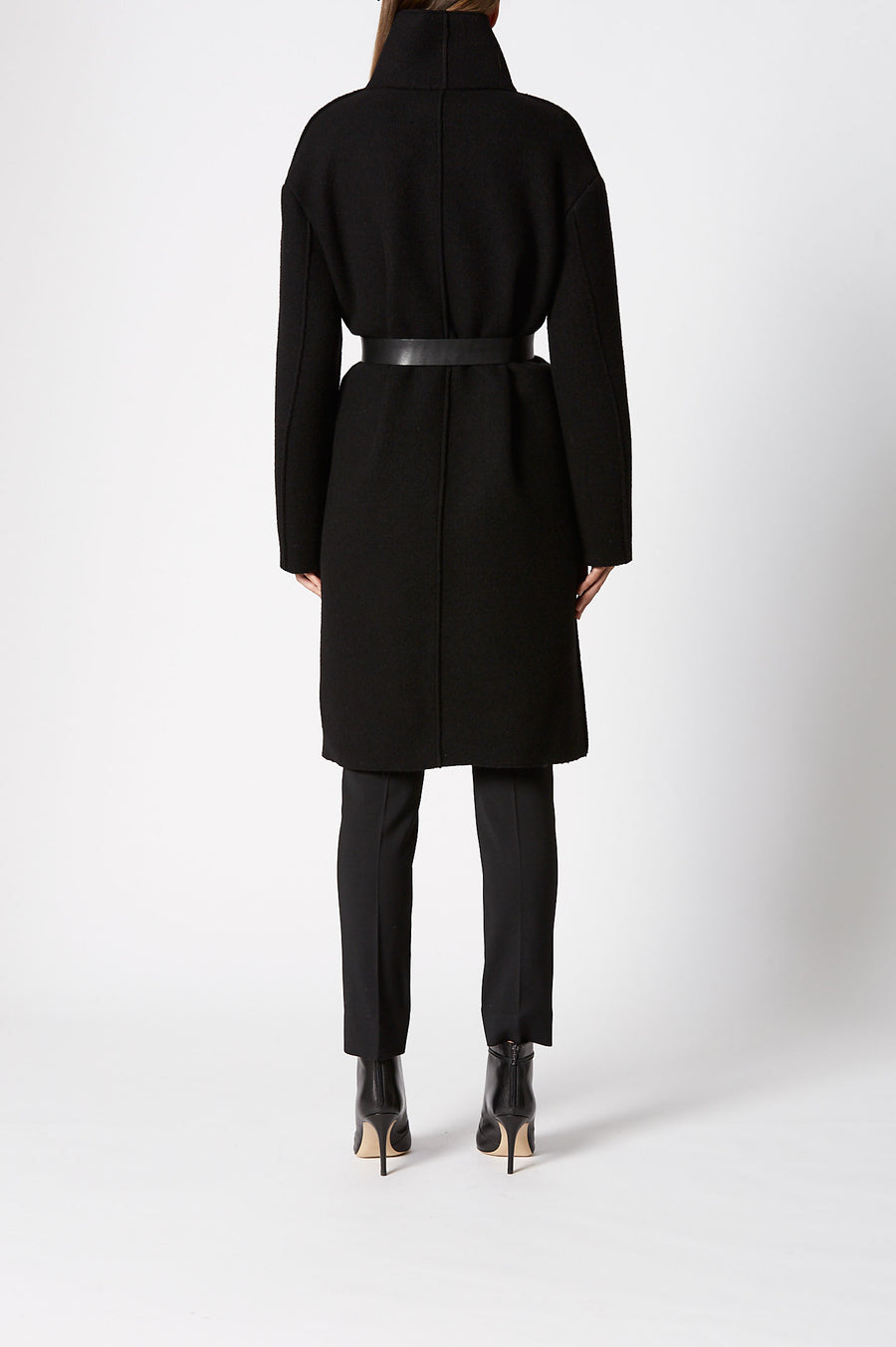 Cut Edge Wool Coat, slim fit, mid length coat, seam pockets, high neck collar, one button fastening at the top where collar wraps around to close, Color Black