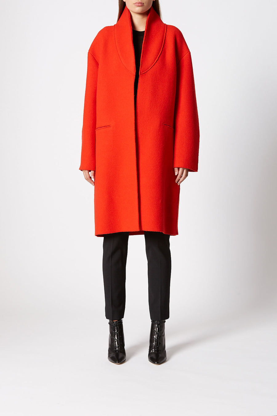 Cut Edge Wool Coat, slim fit, mid length coat, seam pockets, high neck collar, one button fastening at the top where collar wraps around to close, Color Red