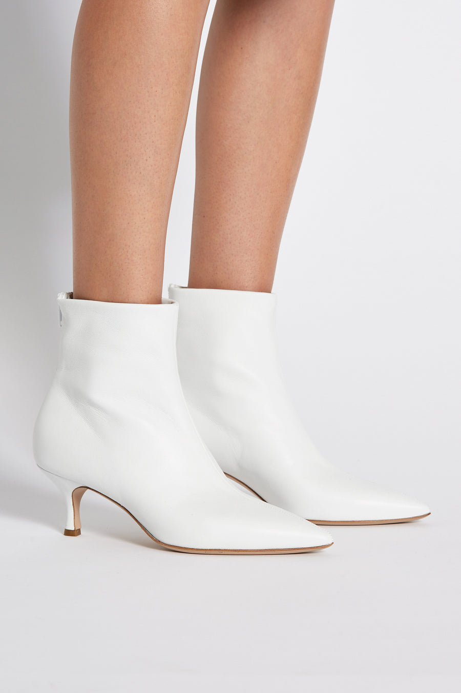 Leather Ankle Boot, Pointed Toe. Heel height approx 2.3 inches. Made in Italy, Color White