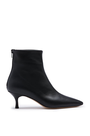 Leather Ankle Boot, Pointed Toe. Heel height approx 2.3 inches. Made in Italy, Color Black Nero
