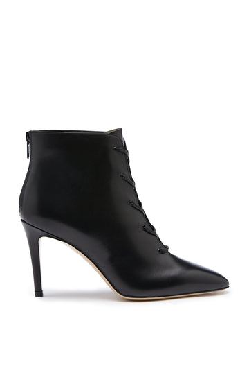 Lace-Up Ankle Boot, pull on ankle boot, crafted from Italian calf leather, back zip closure, leather lining and leather sole, color nero