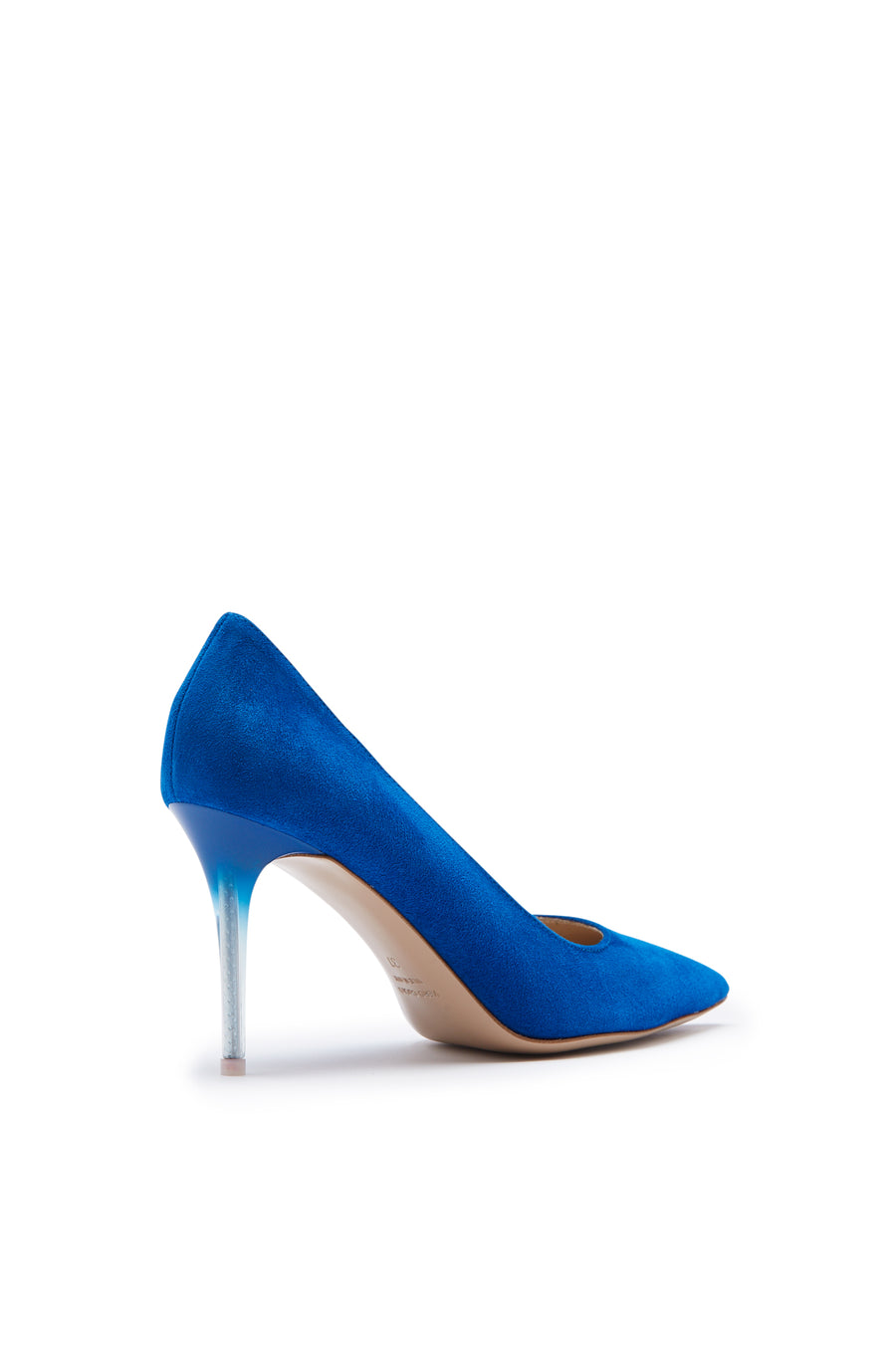Pointed Leather Pump, Italian calf leather, 9cm plexi heel with a sprayed finish. Color Blue
