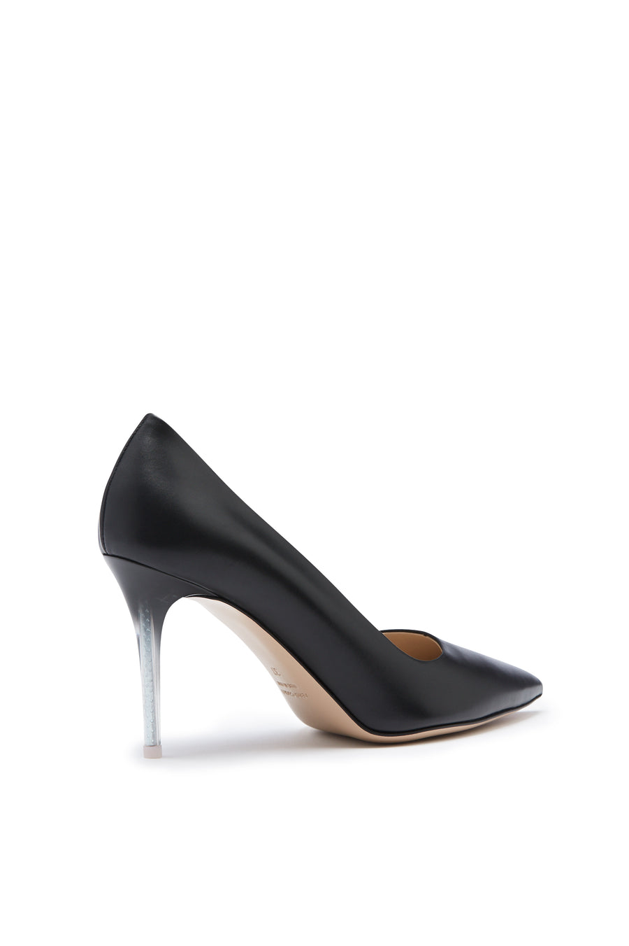 Pointed Leather Pump, Italian calf leather, 9cm plexi heel with a sprayed finish. Color Nero